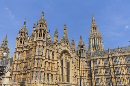 Palace of Westminster, details, London, England.  The Palace lies on the north bank of the River Thames in the City of Westminster, in central London