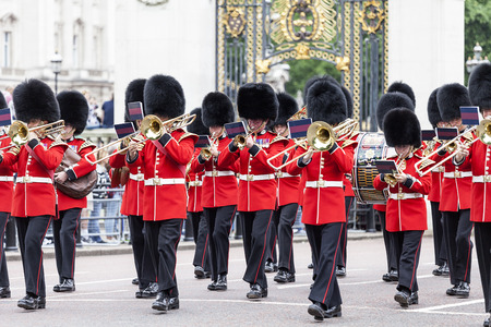 LONDON, UNITED KINGDOM - JUNE 25, 2017 : Ceremonial changing of the London guards in front of the Buckingham Palace, Queens Guard. This is one of the major attractions in London. Editorial