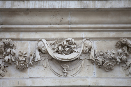 18th century St Paul Cathedral, relief on facade, London, United Kingdom.  It is an Anglican monumental cathedral, the seat of the Bishop of London
