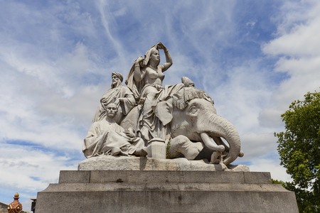 Prince Albert Memorial, Kensington Gardens, sculpture at the base of the monument, London, United Kingdom.  It was commissioned by Queen Victoria in memory of her husband, opened in July 1872