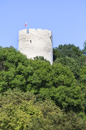 Ruins of 14th century Kazimierz Dolny Castle, defensive fortification, Poland.The building consists of a lower castle and a tower, is a great tourist attraction Editorial