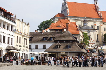 KAZIMIERZ DOLNY, POLAND - AUGUST 10, 2107: Market in old city of  Kazimierz Dolny at Vistula river . It is town of artists with many art galleries,  big attraction for tourists