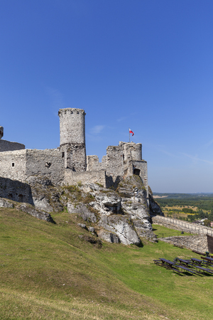 Ruins of  medieval castle, Ogrodzieniec Castle, Podzamcze, Poland. The castle is situated on the 515.5 m high Castle Mountain, built in the 14th century,  located on the Trail of the Eagles Nests