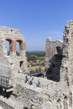 OGRODZIENIEC, POLAND - AUGUST 31, 2017: Ruins of  medieval Ogrodzieniec Castle. The castle is situated on the 515.5 m high Castle Mountain, built in the 14th century,  located on the Trail of the Eagles Nests