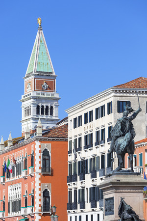 VENICE-ITALY, SEPTEMBER 21, 2017: Monument to Victor Emmanuel II, first king of united Italy, Riva degli Schiavoni.The bronze statue is located on a boulevard near the St Marks Square