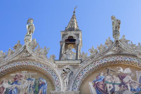 St Marks Basilica (Basilica di San Marco), mosaic on facade, Venice, Italy. It is Roman Catholic church, Italo-Byzantine architecture, located on St Marks Square Stock Photo