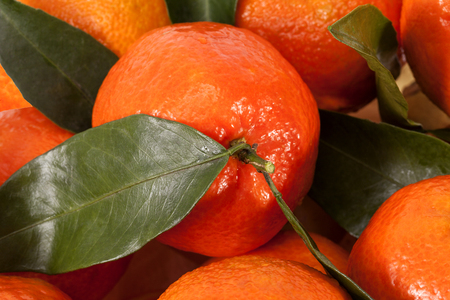 Background of mandarin orange with leaves, close up Stock Photo