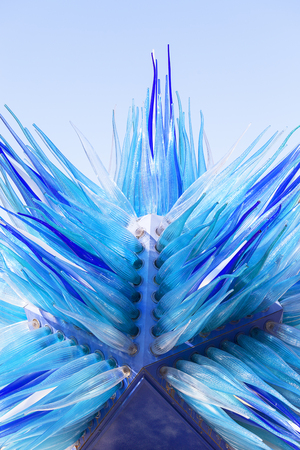 VENICE, ITALY-SEPTEMBER 21, 2017: Comet Glass Star blue sculpture ,Campo Santo Stefano. It was created by master glassmaker Simone Cenedese Editorial
