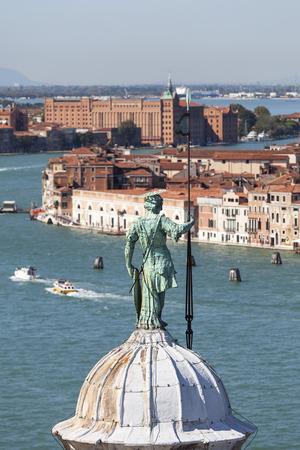 View from the bell tower of the  16th-century Benedictine San Giorgio Maggiore church on Giudecca Canal, Venice, Italy. The channel separates the Giudecca island from the Dorsoduro district.