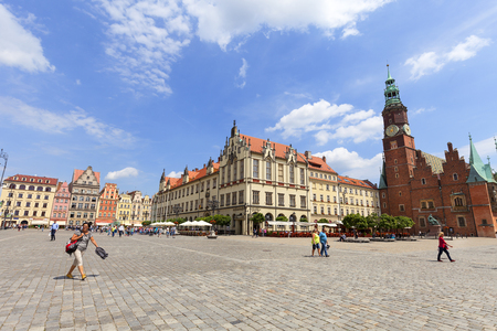 WROCLAW - POLAND, JUNE 12, 2017 : Main market with old town hall, Lower Silesia. It is one of the largest markets in Europe