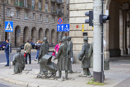WROCLAW - POLAND, JUNE 13, 2017 : The Monument of An Anonymous Passerby, sculpture by Jerzy Kalina. Installation located at the intersection of streets in the city center since 2005