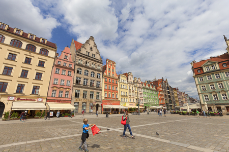 WROCLAW - POLAND, JUNE 12, 2017 : Main market, colorful tenement houses, Lower Silesia. It is one of the largest markets in Europe