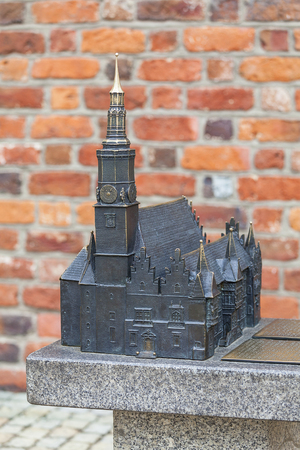 Gothic Wroclaw Old Town Hall on market square, miniature for the blind, Wroclaw, Poland. Hall was built in the 13th century , one of the main landmarks of the city. Stock Photo