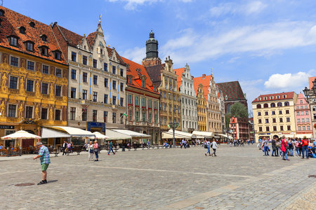 WROCLAW - POLAND, JUNE 12, 2017 : Main market on a sunny day, Lower Silesia. It is one of the largest markets in Europe