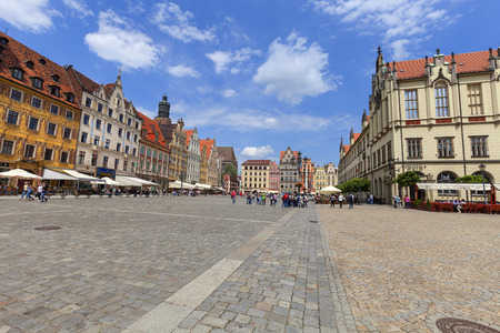 WROCLAW - POLAND, JUNE 12, 2017 : Main market square on a sunny day, Lower Silesia. It is one of the largest markets in Europe