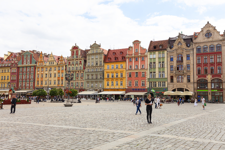 WROCLAW - POLAND, JUNE 13, 2017 : Main market square ,colorful tenement houses, Lower Silesia. It is one of the largest markets in Europe Editorial