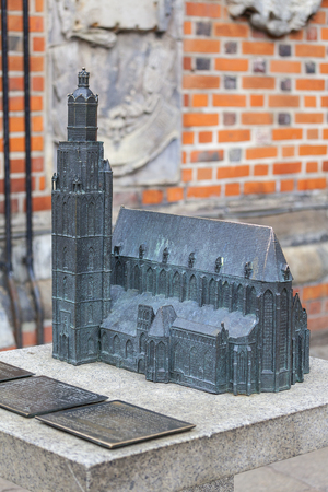 14th century gothic St. Elisabeth Church, miniature for the blind, Market Square, Wroclaw, Poland.  It is one of the most iconic structures of the city panorama. Stock Photo