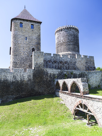 Medieval gothic castle, Bedzin Castle, Upper Silesia, Bedzin, Poland. It was built as a fortified by King Casimir the Great in the 13th century. Now restored is a tourist attraction Editorial