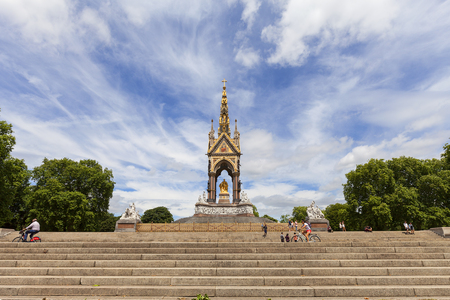 LONDON, UNITED KINGDOM - JUNE 23, 2017: Prince Albert Memorial, Kensington Gardens.  It was commissioned by Queen Victoria in memory of her husband, opened in July 1872