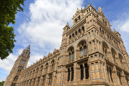 Natural History Museum with ornate terracotta facade,  Victorian architecture, London, United Kingdom. Building built in the 19th century in style Victorian architecture