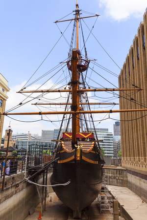 LONDON, UNITED KINGDOM - JUNE 22, 2017: Golden Hind, replica of a 16th century ship in the seafront of St Mary Overie. Galeon was the flagship of Francis Drake during his travels around the world 에디토리얼