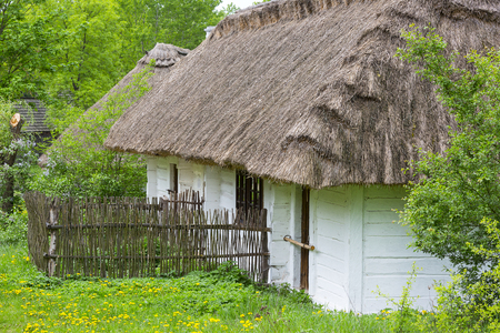 Old traditional polish wooden house in open air museum, Museum of the Kielce Village ( Muzeum Wsi Kieleckiej),  rural landscape, Tokarnia, Poland