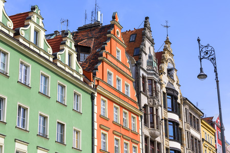 Main market square ,colorful tenement houses, Lower Silesia, Wroclaw, Poland. It is one of the largest markets in Europe Stock Photo