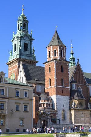 KRAKOW, POLAND - APRIL 14, 2018: Wawel Cathedral - coronation place of Polish kings- on Wawel Hill