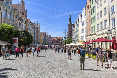 GDANSK, POLAND - JUNE 5, 2018: View on Long Market and Town Hall.  This street  is one of the most notable tourist attractions of the city Publikacyjne