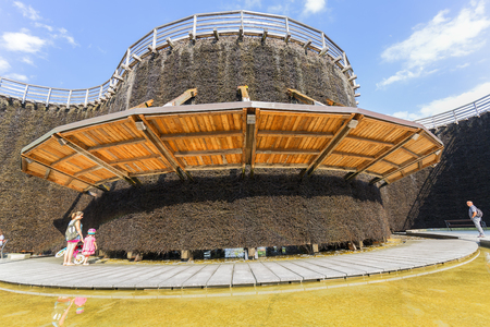 WIELICZKA, POLAND - JUNE 20, 2018: Graduation tower, great inhalatorium in the resort near Krakow. It is made of wood and sloe branches to increase the salt concentration in brine