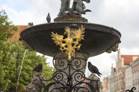 Neptunes Fountain Statue at Long Market  Street,  figures on a pedestal, Gdansk, Poland. Stockfoto