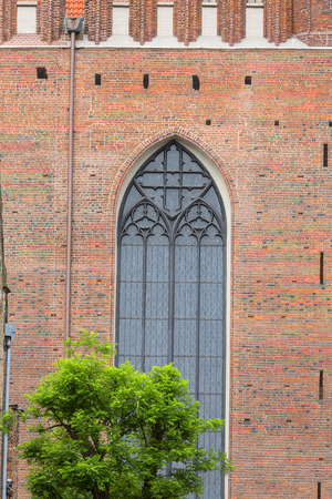 16th century brick gothic St. Marys Church, exterior, Gdansk, Poland.