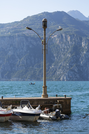 Lake Garda, the largest lake in Italy, port for ships, Malcesine, Italy.
