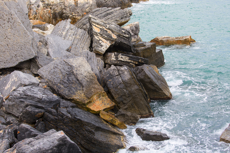View on Byron Grotto in the Bay of Poets, Portovenere, Italian Riviera, Italy