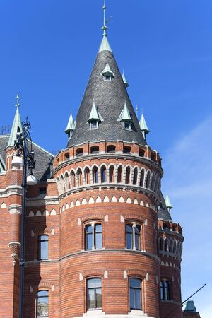 Historic building of City Hall, red brick tower, Helsingborg; Sweden