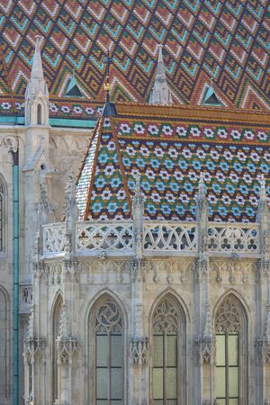 11th century Matthias Church, decorative colorful roof, Budapest, Hungary 스톡 콘텐츠