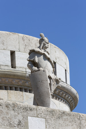Fisherman Bastion, one of the best known monuments in the city, details of facade, Budapest, Hungary