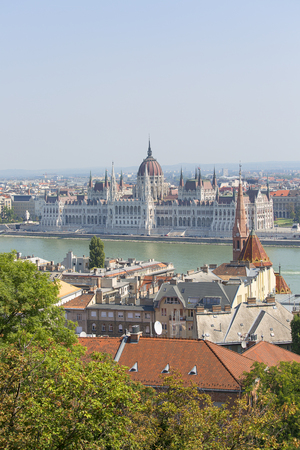 BUDAPEST, HUNGARY - SEPTEMBER 1, 2019: Hungarian Parliament Building and Dunabe river, view from Fisherman Bastion