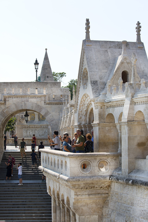 BUDAPEST, HUNGARY - SEPTEMBER 1, 2019: Fisherman Bastion, one of the best known monuments in the city 에디토리얼