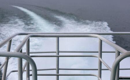 Kelvin wake pattern , kilwater behind the sailing ship, Lake Garda, Italy