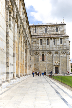PISA, ITALY - MAY 13, 2019: View on Pisa Cathedral, sunny day, Piazza del Duomo