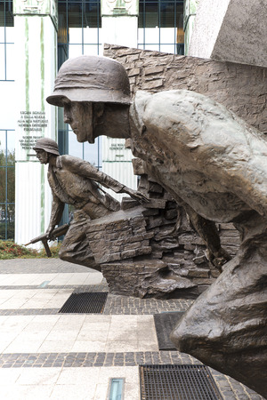 WARSAW, POLAND -OCTOBER 17, 2019 : Warsaw Uprising Monument in front of Supreme Court of Poland