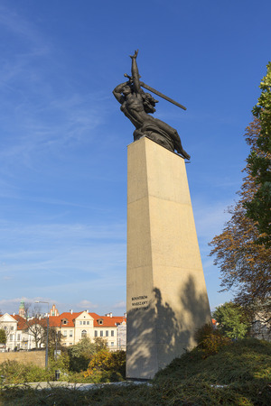 WARSAW, POLAND -OCTOBER 18, 2019: Monument to the Heroes of Warsaw, Warsaw Nike by sculptor Marian Konieczny. The monument commemorates all those who died in the city in 1939 to 1945 during World War II and German occupation
