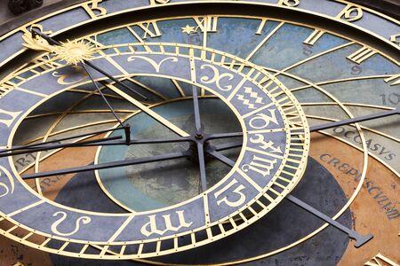 PRAGUE, CZECH REPUBLIC - MAY 01, 2017 : Prague astronomical clock Orloj on Old Town Hall. It is a medieval astronomical clock, city symbol