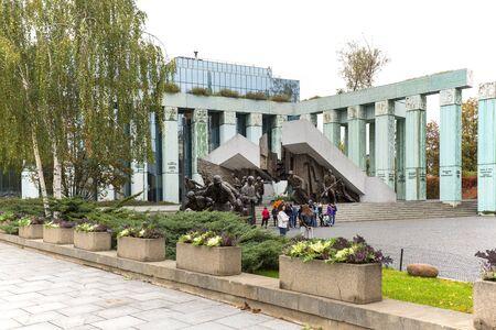 WARSAW, POLAND -OCTOBER 17, 2019 : Warsaw Uprising Monument in front of Supreme Court of Poland, Krasinski Square