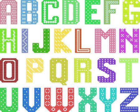 trabajo manual: color alfabeto lat�n patr�n de cruz para trabajo manual