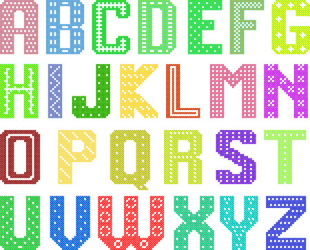 color latin alphabet by cross pattern for handwork Vector