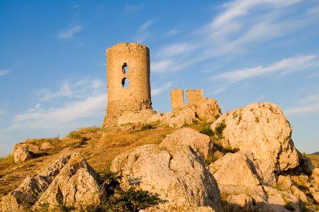 security gap: Balaclavas castle at sunset on blue sky background