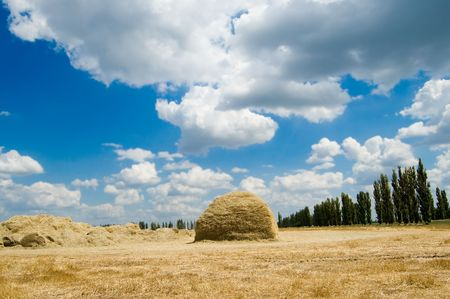 two stack of straw on a background blue sky with clouds photo
