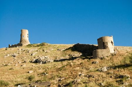 old Crimean citadel on blue sky background photo